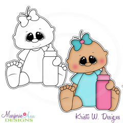 Baby Girl & Bottle Exclusive Digital Stamp + Clipart