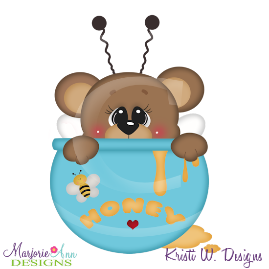 Honey Bear SVG Cutting Files Includes Clipart - Click Image to Close