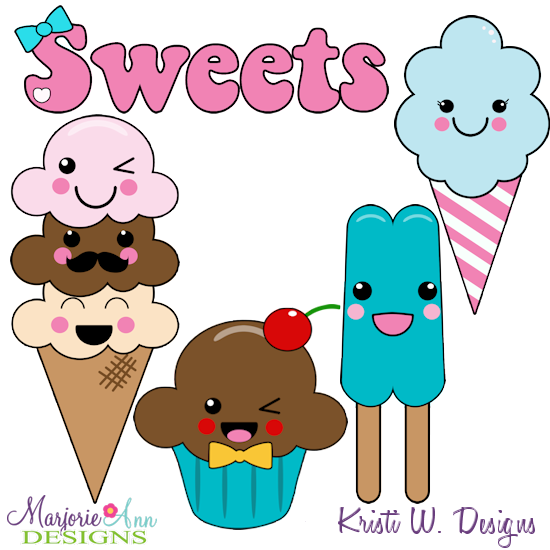 Kawaii Sweets SVG Cutting Files + Clipart - Click Image to Close