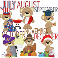 Calendar Bears July-December SVG Cutting Files Includes Clipart