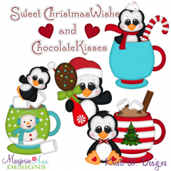 Christmas Wishes & Chocolate Kisses SVG Cutting Files+Clipart