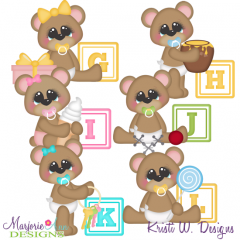 Baby Alphabet Bears G - L SVG Cutting Files Includes Clipart